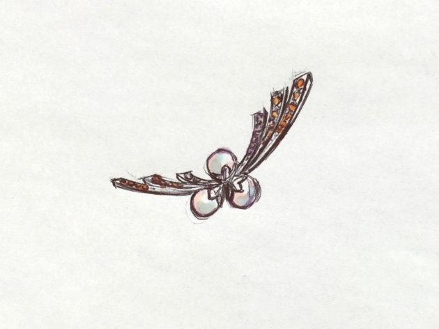 菊の花のブローチのスケッチ